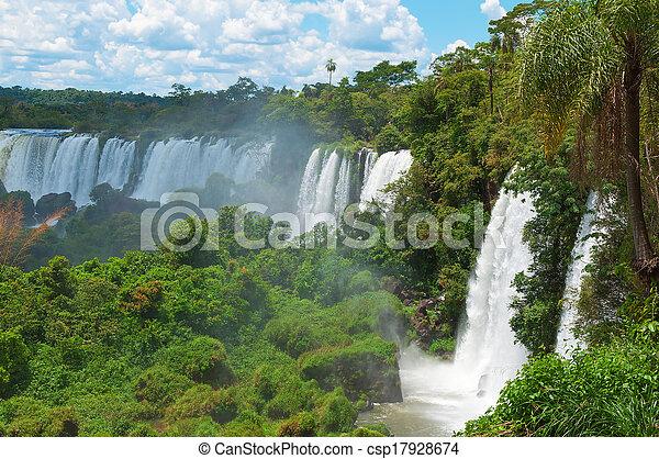Iguassu waterfalls bordering Argentina Brazil - csp17928674