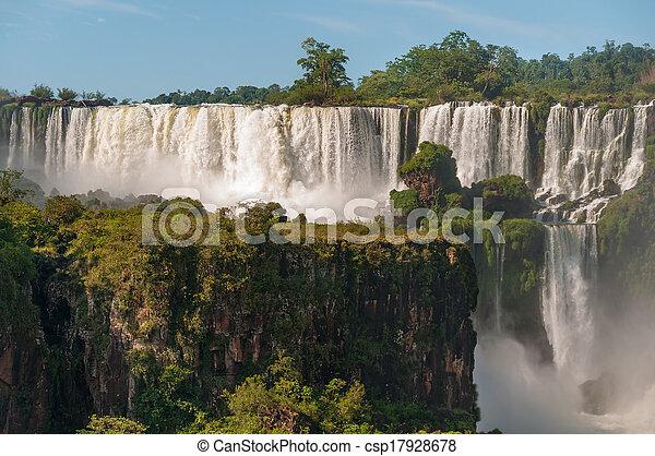 Iguassu waterfalls bordering Argentina Brazil - csp17928678