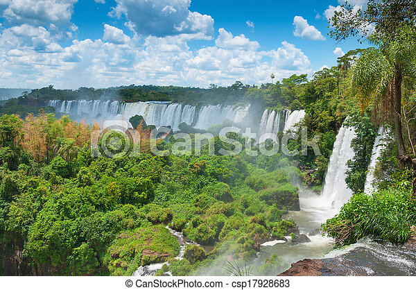 Iguassu waterfalls bordering Argentina Brazil - csp17928683