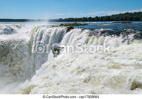 Iguassu waterfalls bordering Argentina Brazil - csp17928664