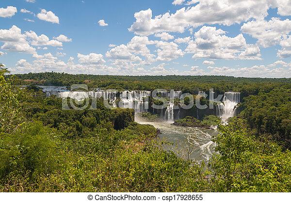 Iguassu waterfalls bordering Argentina Brazil - csp17928655