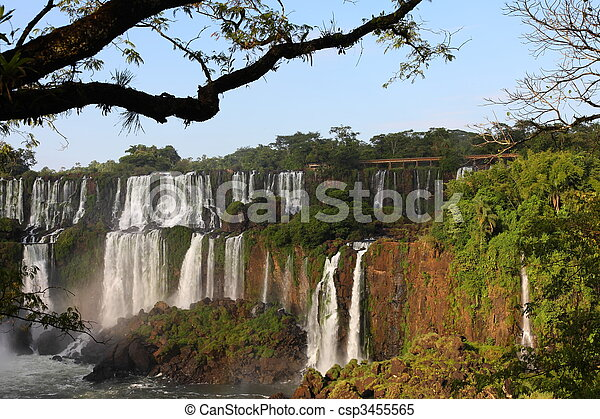Iguassu waterfalls on a sunny day early in the morning. The biggest waterfalls on earth. - csp3455565