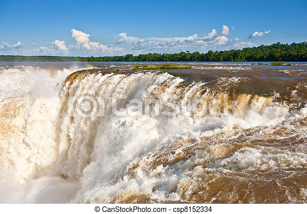 Iguazu falls, one of the new seven wonders of nature. UNESCO World Heritage site. View from the argentinian side. - csp8152334