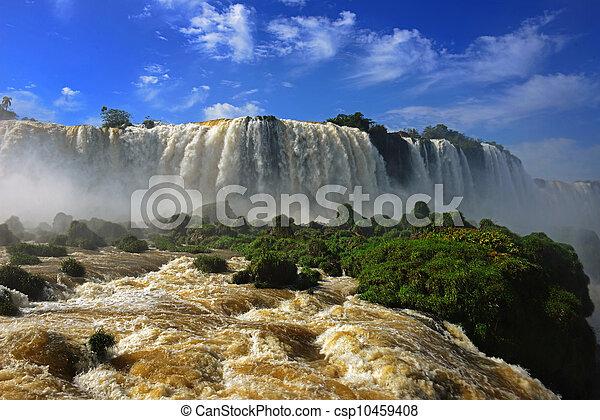 Iguazu falls, one of the new seven wonders of nature, Devils Throat, Garganta del Diablo - csp10459408