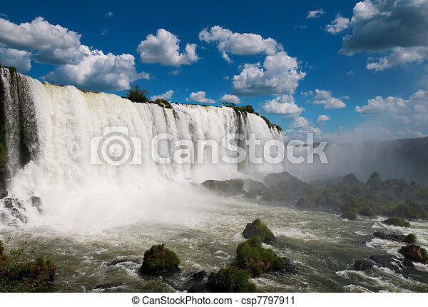 iguazu, waterfalls., ブラジル, アメリカ, 南, アルゼンチン - csp7797911