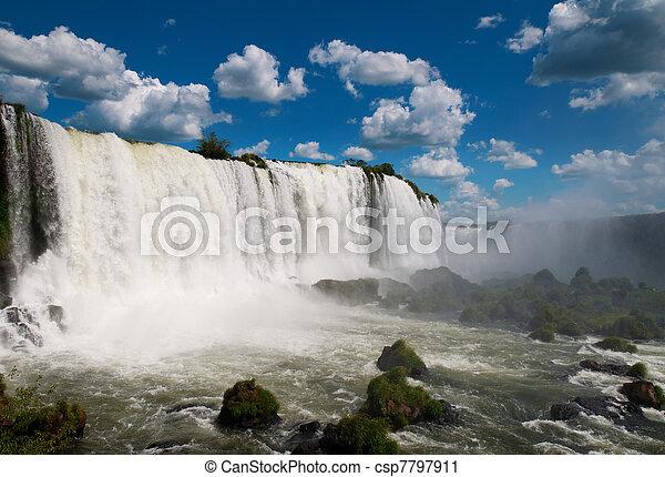iguazu, waterfalls., 브라질, 미국, 남쪽, 아르헨티나 - csp7797911