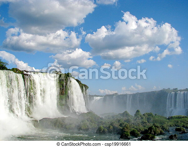 Iguazu Waterfalls in Brazil on a sunny day, seen from the Brazilian side. - csp19916661