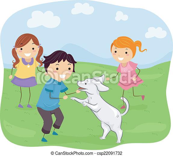Kinder spielen mit ihrem Hund - csp22091732