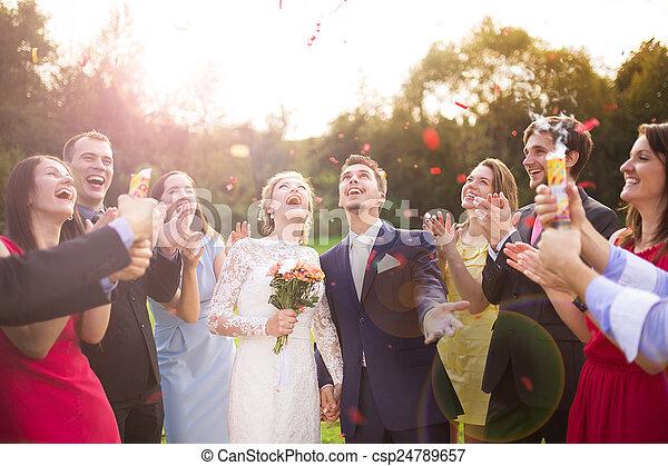 ihr, kleingarten, jungvermählten, party, gast - csp24789657