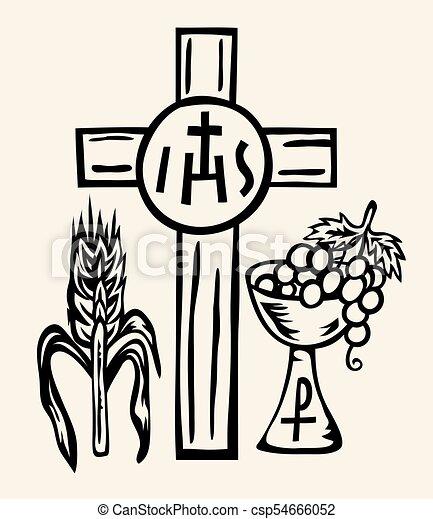 Ihs Symbol Body And Blood Of Jesus Christ Art Vector Design