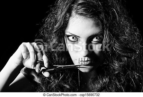 ijedős, becsuk, varrás, el, befűz, horror, furcsa, éles, száj, leány, shot: - csp15690732