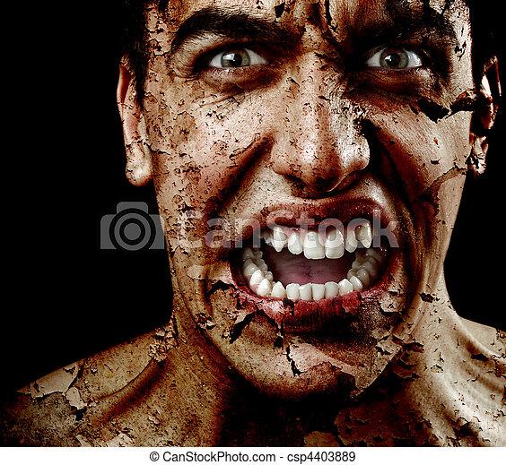 ijedős, hámlás, bőr, repedt, idős, kísérteties, ember - csp4403889