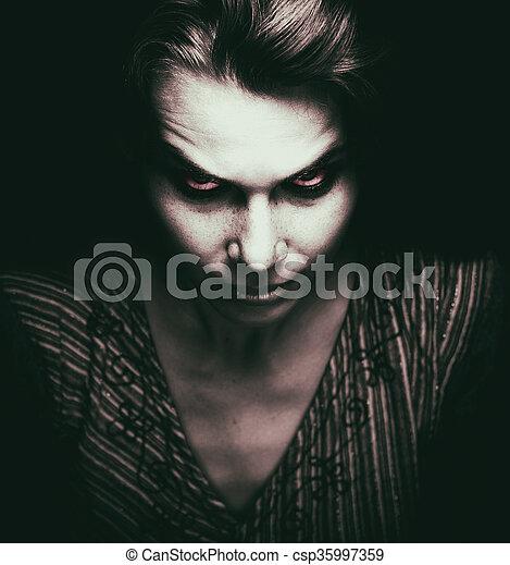 ijedős, szemek, nő, rossz, arc - csp35997359