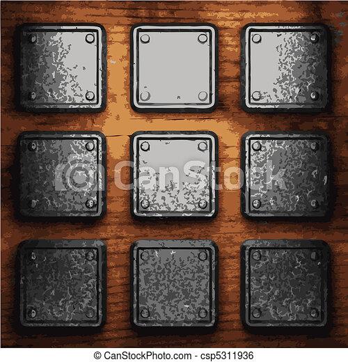 ijzer, hout, schaaltje - csp5311936