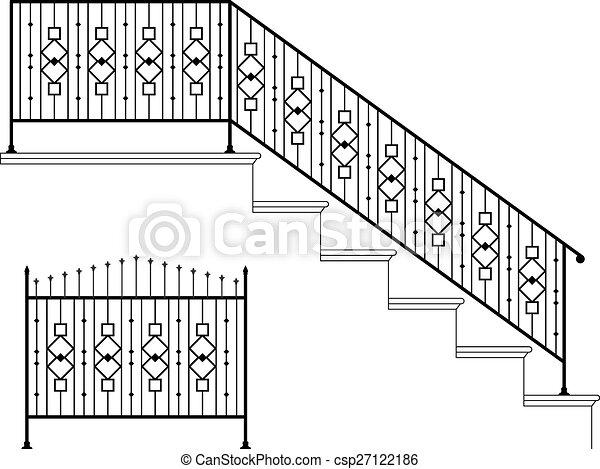 ijzer, ontwerp, wrought, tree balustrade - csp27122186