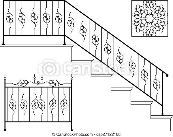 ijzer, ontwerp, wrought, tree balustrade - csp27122188