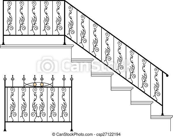 ijzer, ontwerp, wrought, tree balustrade - csp27122194