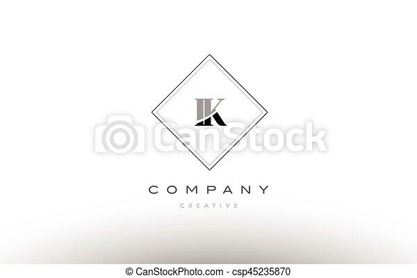 Ik I K Retro Vintage Black White Alphabet Letter Logo Ik I K