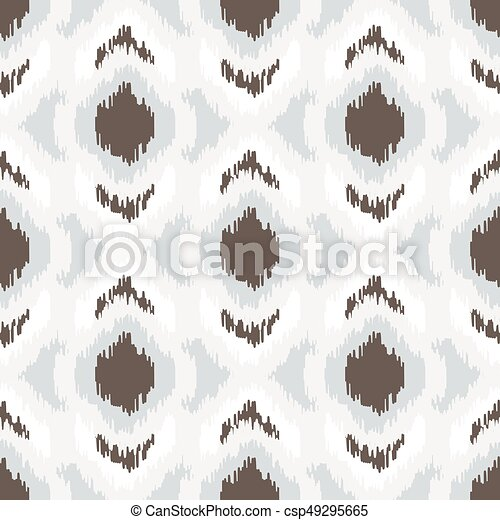 Ikat geometric seamless pattern. White and brown collection. - csp49295665