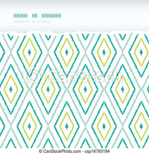 Grüne ikat-Diamanten horizontal zerrissene, nahtlose Muster Hintergründe - csp16793184