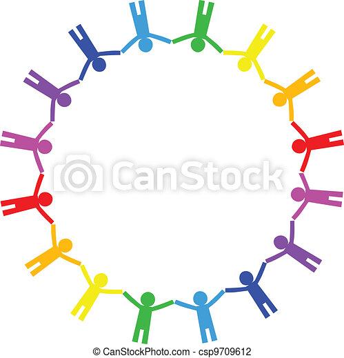 ikon, c-hang, vektor, színes, emberek - csp9709612