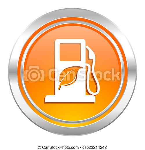 ikona, bio, opał, biofuel, znak - csp23214242