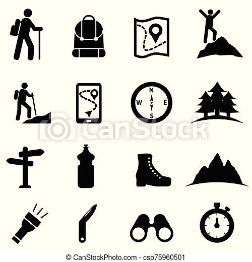 ikona, komplet, wolny czas, hiking, rozrywka - csp75960501
