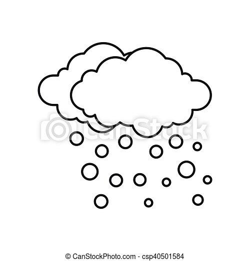 Ikona Styl Szkic Chmura śnieg Styl Szkic Ilustracja