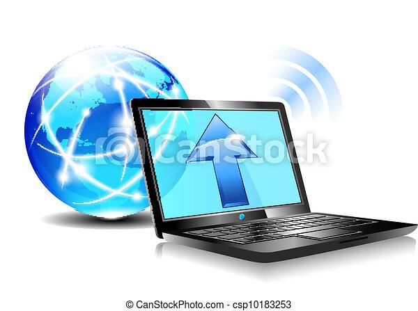 ikona, upload, chmura, internet - csp10183253