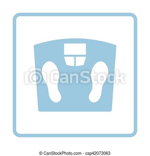 Ikone, boden, waage. Blaues, illustration., boden, rahmen ...