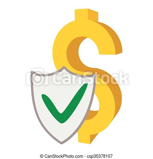Ikone Geld Stil Versicherung Karikatur Stil Geld Karikatur