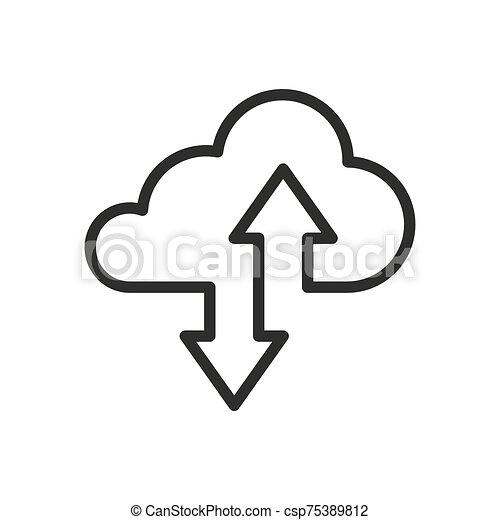 ikone, kumuluswolke, fahren, oder, linie, lagerung, kunst - csp75389812