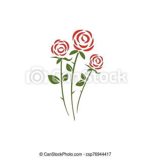 ikone, schoenheit, blume, vektor, rose - csp76944417