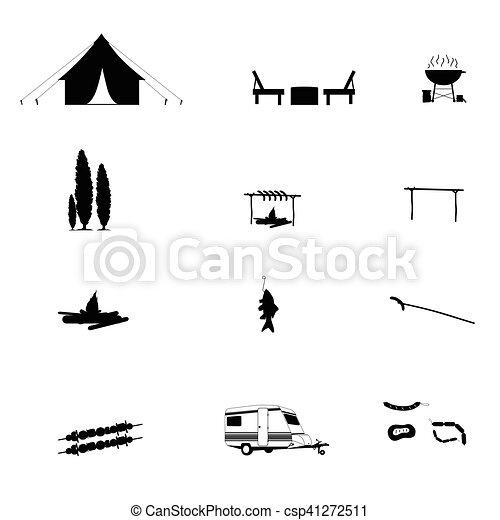 Camping in der Natur Ikone schwarze Illustration - csp41272511