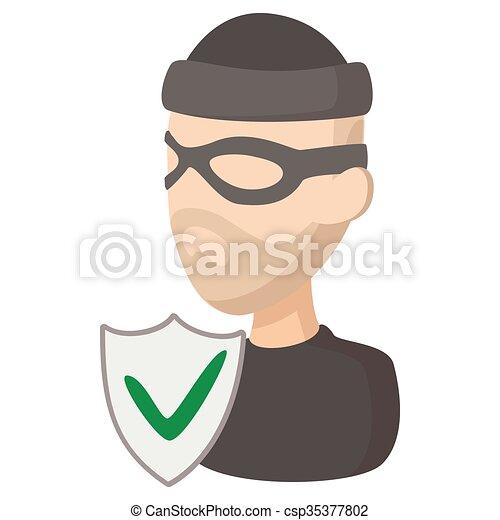 Ikone Stil Versicherung Karikatur Verbrechen Stil Versicherung