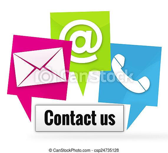 ikonen, kontakt oss, undertecknar - csp24735128