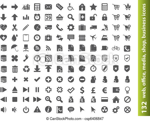 ikonen, kontor, nät, 132, buisness, media - csp6406847
