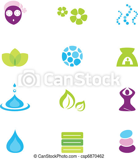 ikonok, elszigetelt, vektor, ásványvízforrás, természet, wellness, fehér - csp6870462