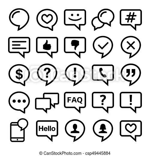 ikonok, set-, háló, érintkezés, megjegyzés, vektor, beszéd, blog, tervezés, egyenes, buborék - csp49445884