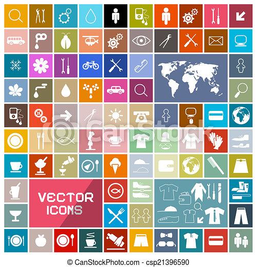 ikony, barwny, kwadraty, komplet, wektor, płaski - csp21396590