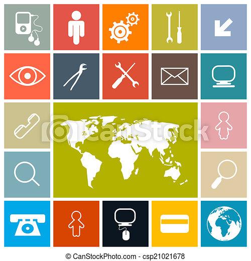 ikony, barwny, skwer, komplet, wektor, projektować, płaski - csp21021678