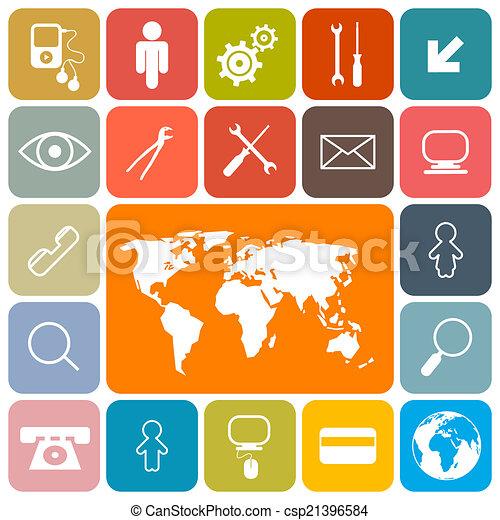 ikony, barwny, skwer, komplet, wektor, projektować, płaski - csp21396584