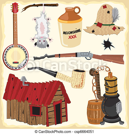 ikony, hillbilly, clipart, element - csp6664051