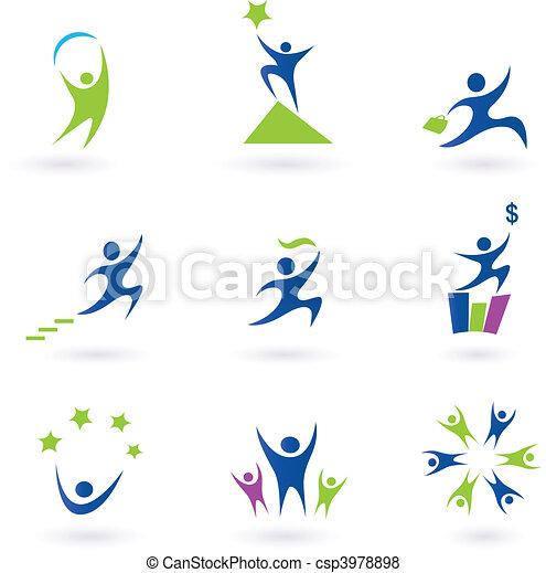 ikony, powodzenie, towarzyski, handlowy - csp3978898