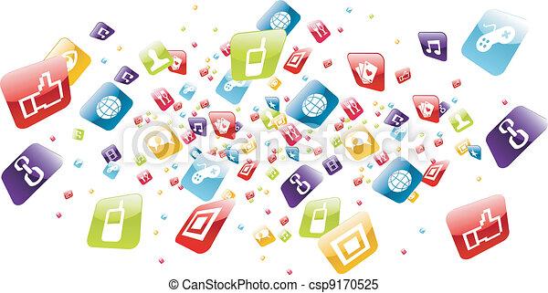 ikony, ruchomy, globalny, apps, telefon, bryzg - csp9170525