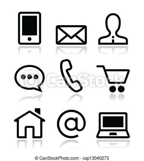 ikony, sieć, komplet, kontakt, wektor - csp13040273