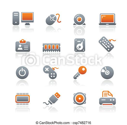 &, ikony, urządzenia, komputer, grafit, / - csp7482716