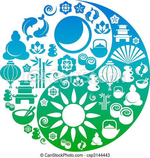 ikony, yang, symbol, zen, yin, robiony - csp3144443