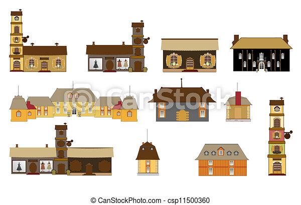 ikony, znaki, oryginał, domy, vec - csp11500360