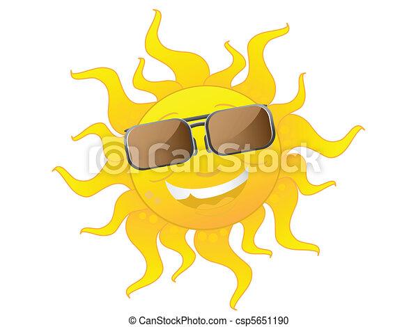 il portare, carino, occhiali da sole, cartone animato, sole - csp5651190